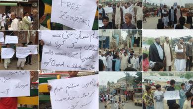 کراچی، آئی ایس او کے زیر اہتمام شیخ زکزکی کی رہائی کیلیے احتجاجی مظاہرے
