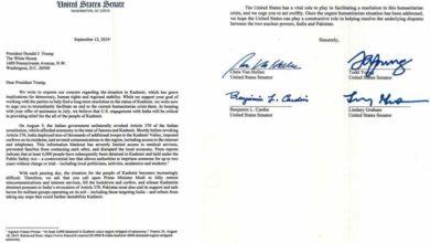 امریکی سینیٹرز کا کشمیر میں قیام امن کا مطالبہ، ٹرمپ کو خط