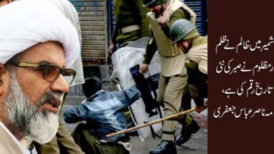 کشمیر میں ظالم نے ظلم اور مظلوم نے صبر کی تاریخ رقم کی ہے