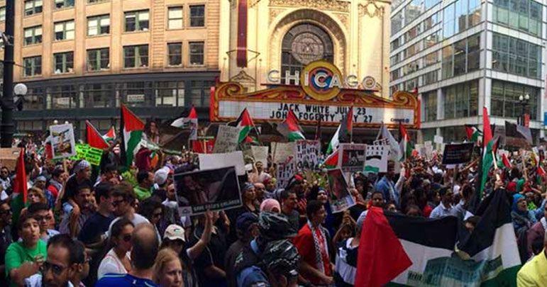 امریکی شہر شکاگو میں صیہونی بستیوں کی تعمیر کے خلاف مظاہرہ