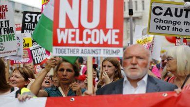 امریکی صدر ٹرمپ کے لندن آمد پر زبردست احتجاجی مظاہرہ