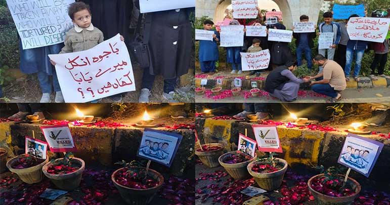 لاپتہ شیعہ عزاداروں کے بچوں کا اے پی ایس کے شہیدوں کی یاد میں چراغاں