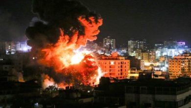 صیہونی فوج کی غزہ کی پٹی میں حماس کے ٹھکانوں پر بمباری