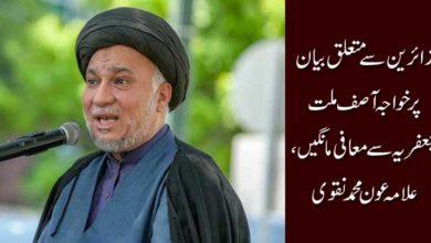 زائرین سے متعلق بیان پر خواجہ آصف ملت جعفریہ سےمعافی مانگیں