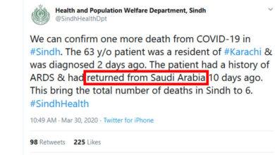 سعودی عرب سے آنے والا کورونا وائرس کا ایک اور مریض جاں بحق