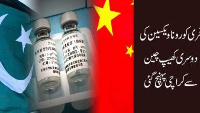 فری کورونا ویکسین کی دوسری کھیپ چین سے کراچی پہنچا دی گئی