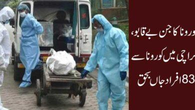 کورونا کا جن بے قابو، کراچی میں کورونا سے 83 افراد جاں بحق