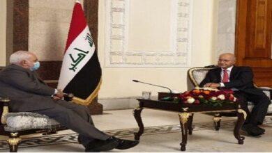 ایران کے وزیر خارجہ کی عراقی صدر سے ملاقات