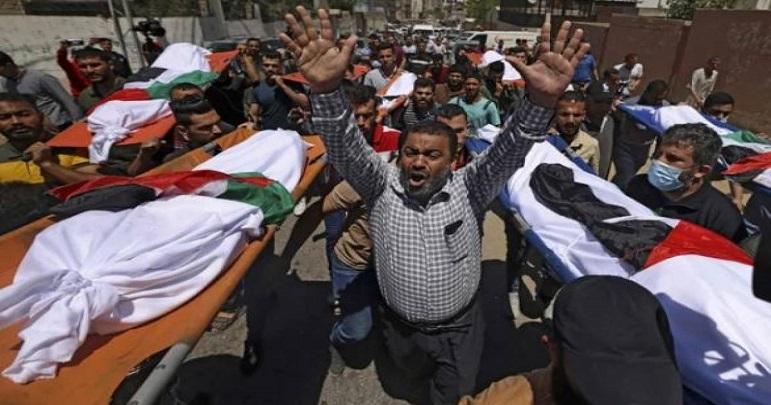 اسرائیلی بمباری میں شہید ہونے والے 9 مجاہدین کی جسد خاکی سرنگ سے نکالlلی گئیں