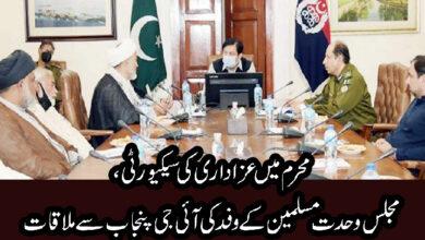 محرم میں سیکیورٹی انتظامات، مجلس وحدت مسلمین کے وفد کی آئی جی پنجاب سے ملاقات