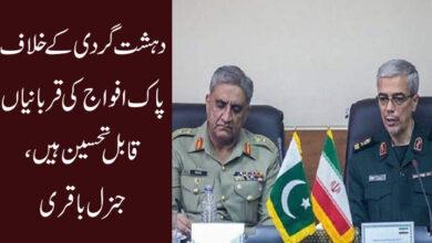 دہشت گردی کے خلاف پاک افواج کی قربانیاں قابل تحسین ہیں، جنرل باقری